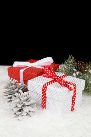 christmas gift: Christmas gift boxes in snow