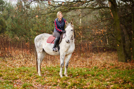Young woman riding a horse photo