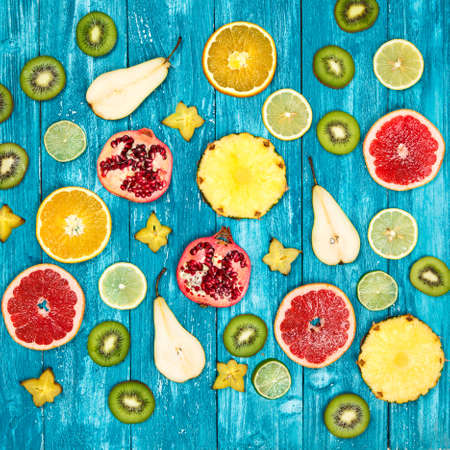 Set of colorful fruit slices photo