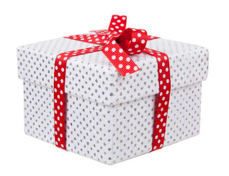 Present box isolated on white background Banque d'images