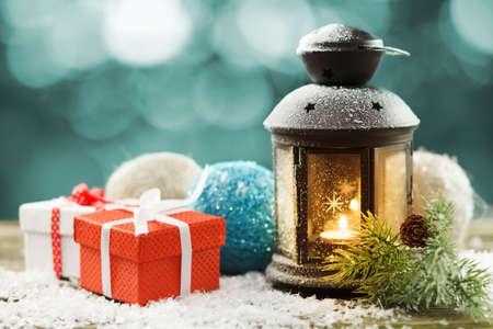 Vintage lantern with seasonal winter decoration photo