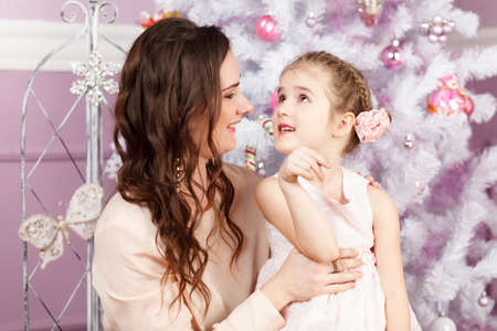Mother and daughter on Christmas photo
