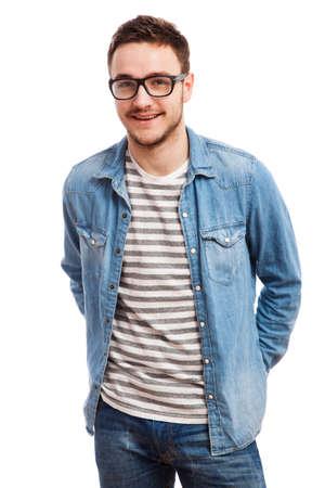 jovenes felices: Retrato del estudio de un hombre joven y guapo. Foto de archivo