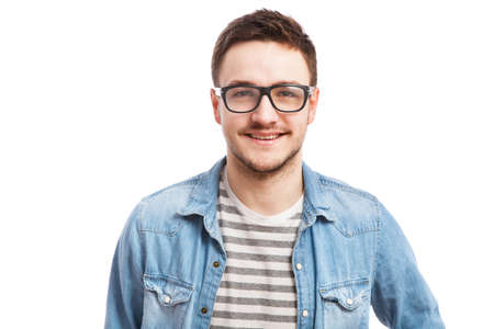 smile face: Studio portrait of a young handsome man. Stock Photo