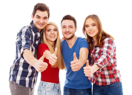 Group of happy young people showing thumbs up, isolated on white background 스톡 콘텐츠