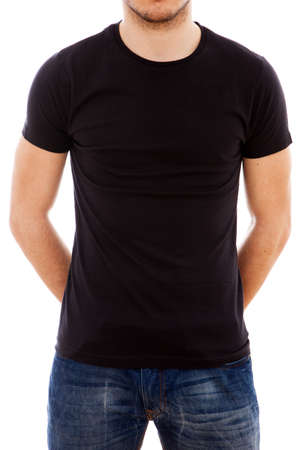 tee shirt: Studio portrait of a young man in a blank black t-shirt Stock Photo