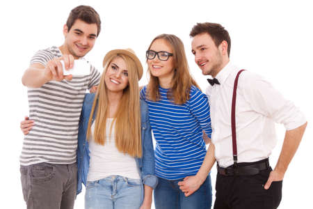 Four stylish young people on white background. photo