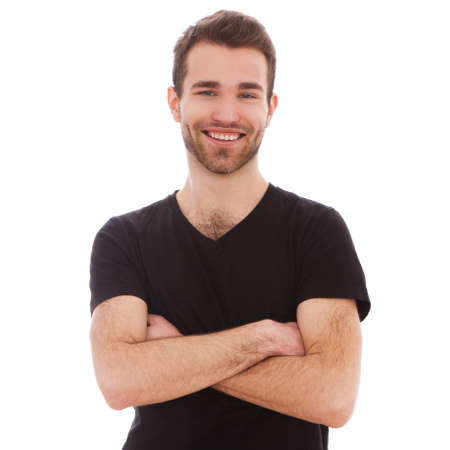 白い背景で隔離された若い男の肖像