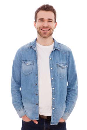 Portrait d'un jeune homme isolé sur fond blanc Banque d'images - 38725428