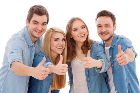 Group of happy young people, isolated on white background photo