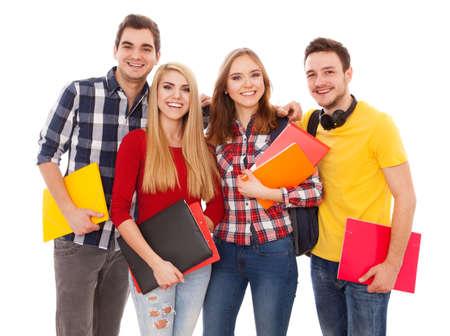 Groep van vrolijke studenten die op een witte achtergrond