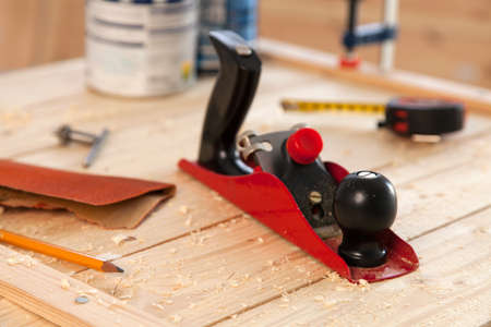woodworking: Woodworking tools on a carpenters table.