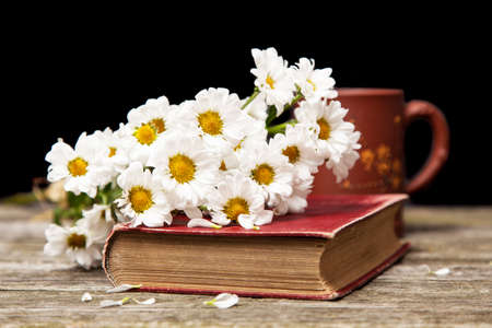 Coffee, daisies and a book on a wooden background photo