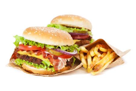 Délicieux hamburger et des frites isolé sur fond blanc Banque d'images - 41946893