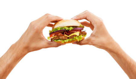 Mains tenant un hamburger, isolé sur fond blanc Banque d'images - 41947018