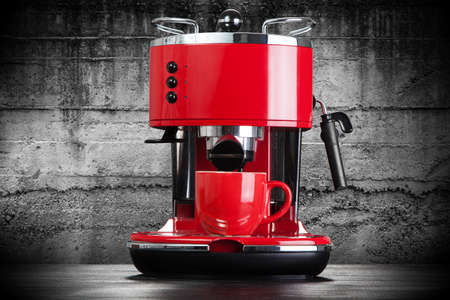 Red retro style coffee machine
