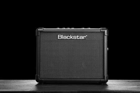 guitar amplifier: WROCLAW,POLAND - JUL 29, 2015: Blackstar Core ID 10 guitar amplifier. Blackstar Amplification is a UK-based manufacturer of guitar amplifiers and effects.