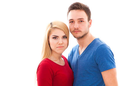 urban style: Young beautiful hipster couple isolated on white background
