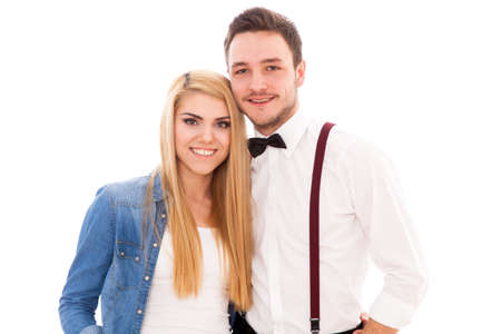 hair bow: Young beautiful hipster couple isolated on white background