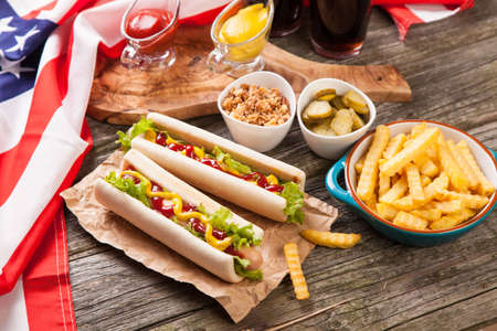 american food: Hot dogs and french fries Stock Photo