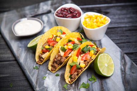 take out food: Mexican food - delicious tacos with ground beef