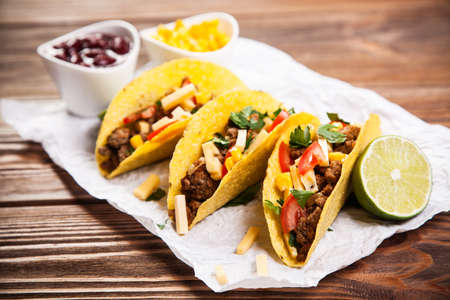 ground beef: Mexican food - delicious tacos with ground beef