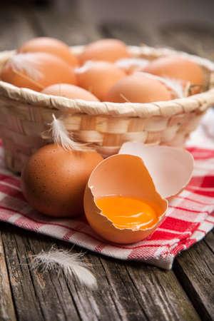 breakfast bowl: Fresh organic eggs in a basket Stock Photo