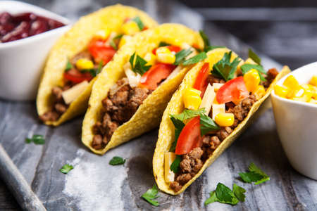 grounds: Mexican food - delicious tacos with ground beef