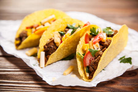 fresh: Mexican food - delicious tacos with ground beef