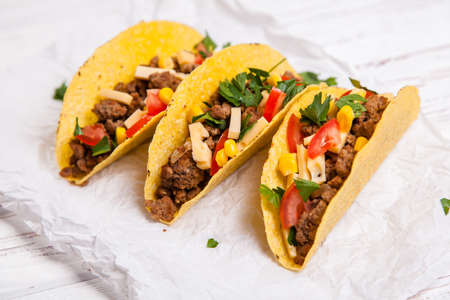 mexican: Mexican food - delicious tacos with ground beef
