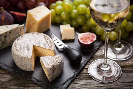 white cheese: Wine and cheese still life