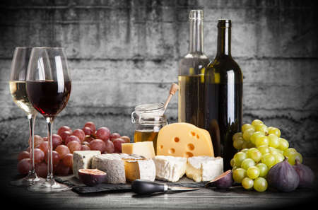 white wine: Wine and cheese still life