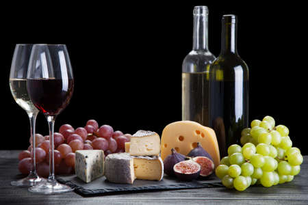 Wine and cheese still life