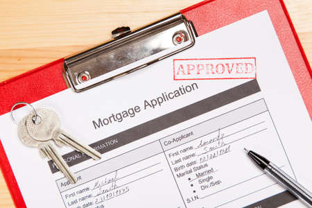 mortgage application: Approved mortgage application form close-up photo Stock Photo