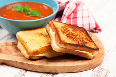 Tomato soup with cheese sandwich