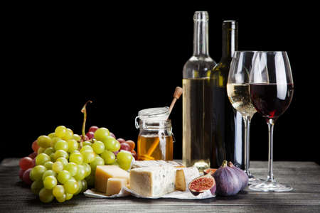 assortment: Wine, grapes and cheese assortment