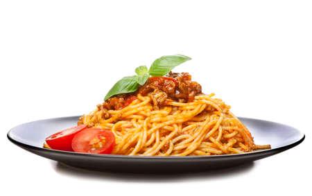 Bolognaise Spaghetti - pâtes italiennes traditionnelles Banque d'images - 58235097