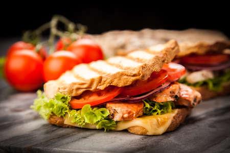 sandwich bread: Grilled chicken sandwich with yellow cheese and vegetables