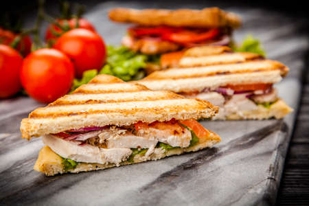 Grilled chicken sandwich with yellow cheese and vegetables 版權商用圖片 - 58394891