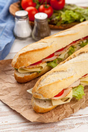Panini grilled sandwich with ham and cheese