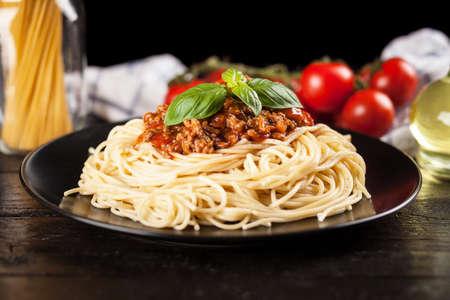 sauce dish: Spaghetti bolognese - traditional italian pasta