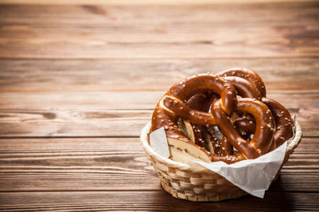 Traditional german pretzels on wooden table