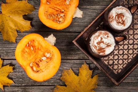 Pumpkin spice latte on a tray