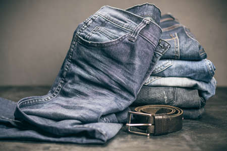 Jeans arranged in a stack