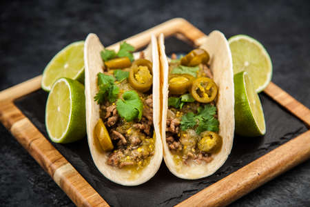 Mexican tacos with beef Stock Photo