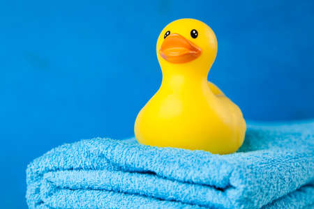 bath: Soft blue towels and a toy duck