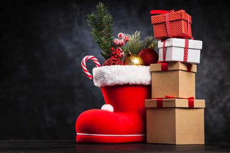 Santas shoe on dark background