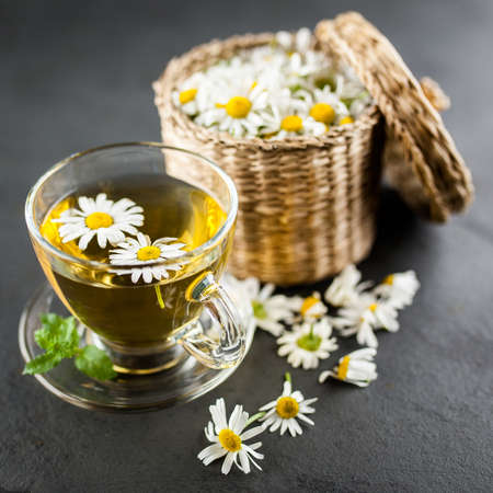 Cup of chamomile tea Stock Photo
