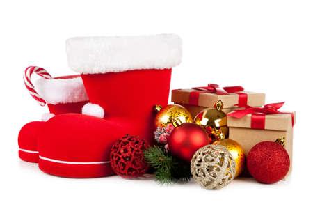 Santas shoe on white background