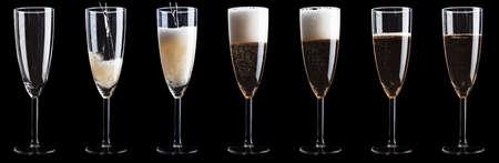 Set of empty to full Champagne glasses 版權商用圖片
